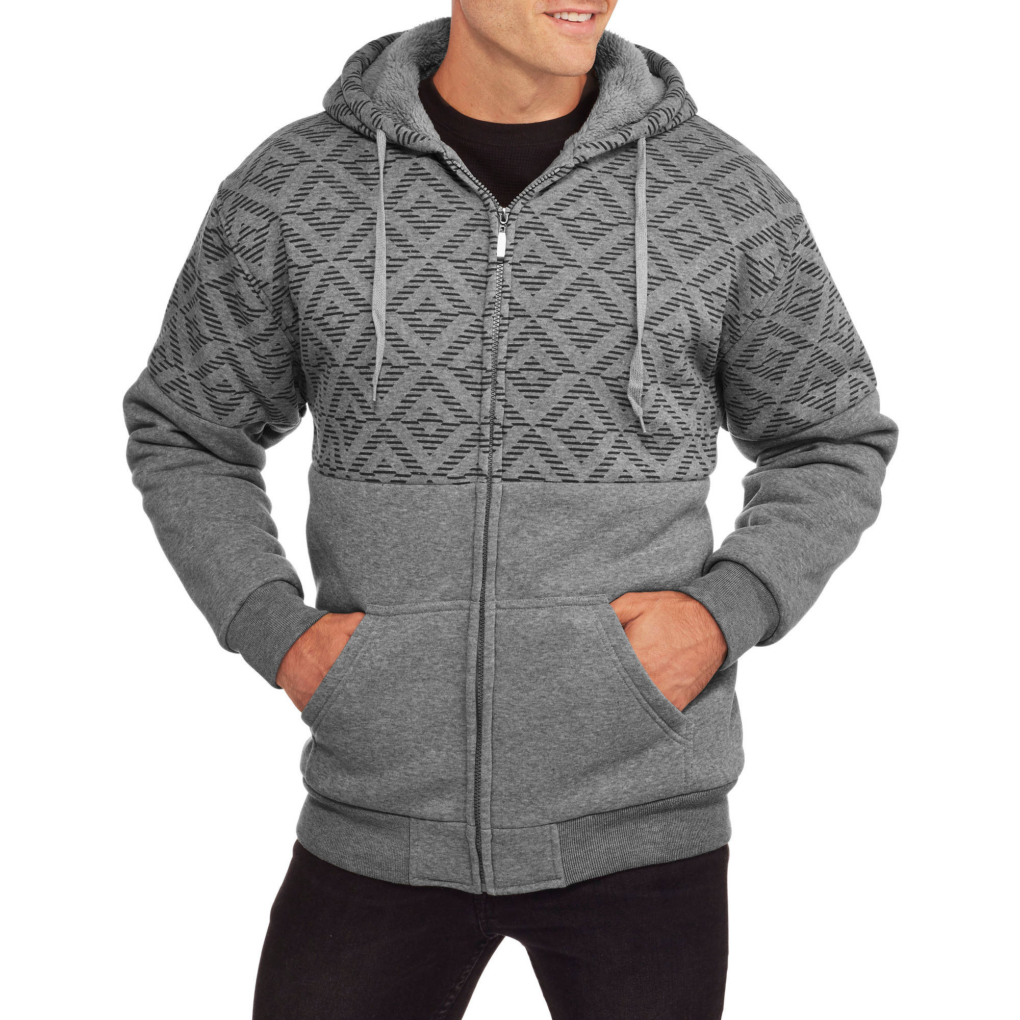 Climate Concepts Men's Print Fleece Sherpa Hoodie
