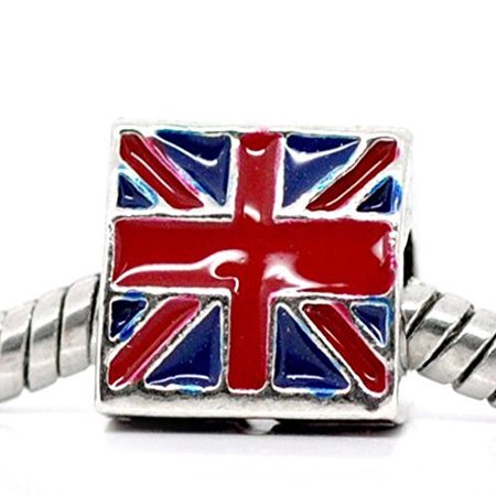 3 Sided Triangle UK Flag Bead European Bead Compatible for Most European Snake Chain Charm Bracelet](Halloween Beads And Charms Uk)