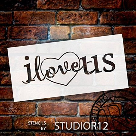 I Love Us Stencil with Heart by StudioR12 | Reusable Mylar Template | Use for Painting Signs on Pallets, Wood and Pillows - DIY Home Decor, Weddings, Valentine, Romance - (Heart Template)