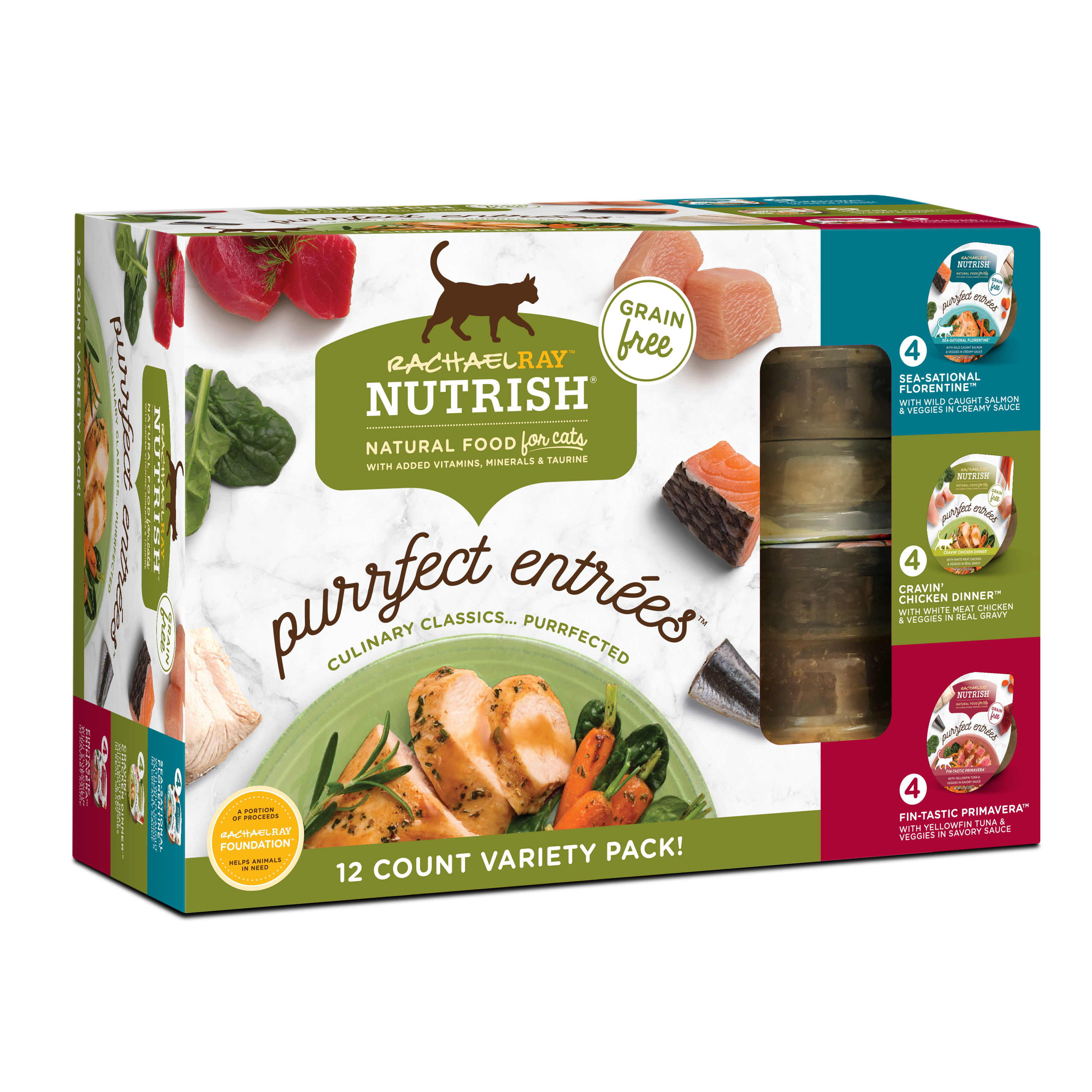 Rachael Ray Nutrish Purrfect Entrees Grain Free Natural Wet Cat Food Variety Pack, 2 oz tubs, 12-count