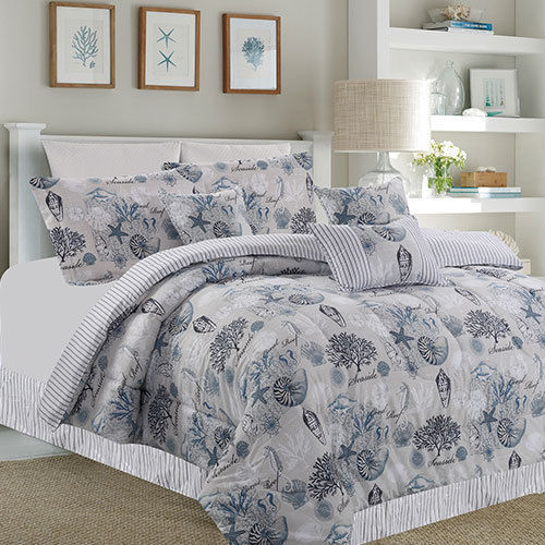 Gray, Blue & White Seashells, Nautical, Beach House Full Comforter Set (7 Piece Bed in A Bag)