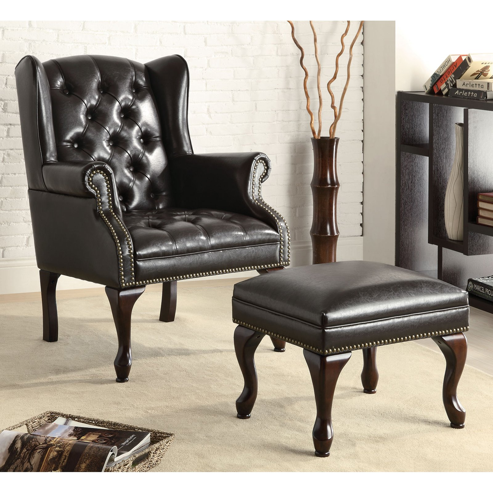 Traditional Wing Back Chair/Ottoman, Black