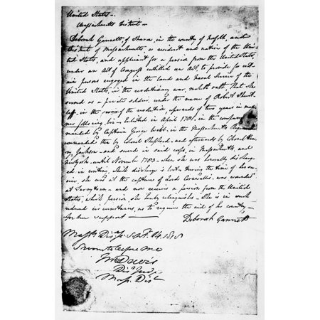 Sampson Pension 1818 Ndeposition Of Deborah Sampson Gannett A Soldier In The American Revolution In Her Claim For Pension 1818 Poster Print By Granger Collection