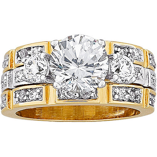 4.6 Carat T.G.W. CZ 14K Gold-Plated Bridal Set