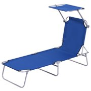 Outsunny Adjustable Garden Chaise Lounge Outdoor Camping Beach Lounging Bed Reclining Seat Portable with Sun Shade (Red)