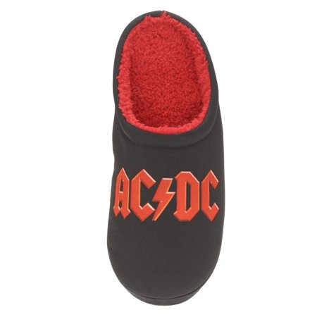 Acdc Mens Black Acdc Slippers Rock Roll Scuffs House Shoes