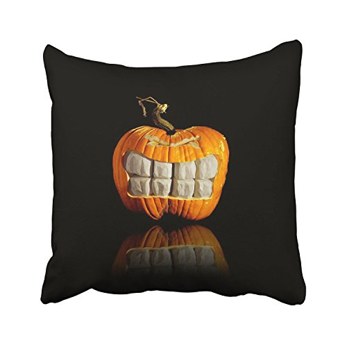 WinHome Happy Halloween Scary Orange Pumpkin And White Teeth Black Decorative Pillowcases With Hidden Zipper Decor Cushion Covers Two Sides 18x18 inches