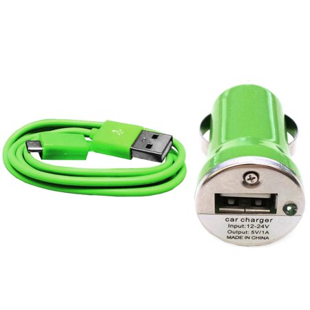Importer520 Green Combo Mini Compact 1000mAh Car Charger + Micro USB Data Sync / Battery Charge Cable For Amazon Kindle