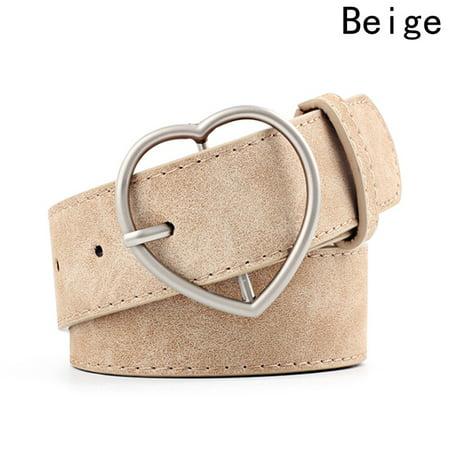 SHOPFIVE Fashional Women Heart Buckle Belt Dress Jeans Faux Leather Waistband US