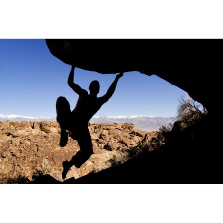 Silhouette Of A Rock Climber Canvas Art - Josh McCulloch Design Pics (18 x 12)