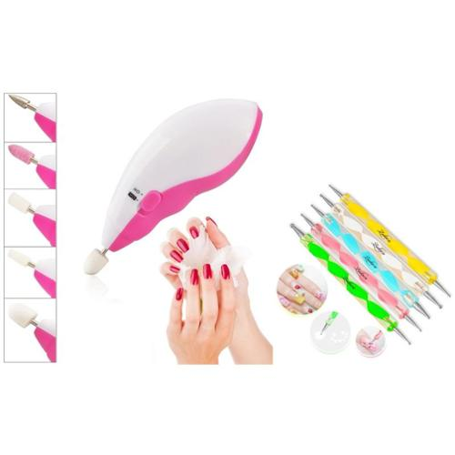 Zodaca 5pcs 2 Way Tools Painting Pen Nail Art Paint Tool+Electric Nail Art Salon Machine Pedicure Drill File Polish Kit (2-in-1 Accessory Bundle)
