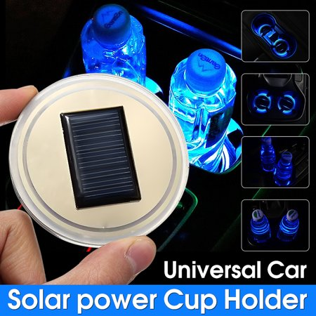 Solar Pals - 1pcs Universal NEW Solar power LED Car Cup Holder Bottom Pad LED Light Cover Trim Atmosphere Lamp for All cars All models