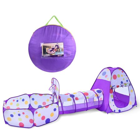 Kids Play tent Pop Up Ball Pit Crawl Tunnels - Children Toy Tent for Boys & Girls, Toddlers & Baby, Large Playhouse For Indoor & Outdoor With Carrying Case, Great Gift Idea F-112