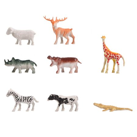 Dilwe 68pcs Set Simulation Plastic Zoo Wild Animals Fence Tree Model