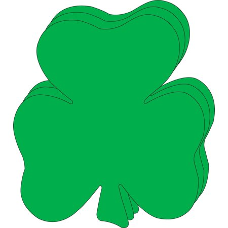 8 x 10 Shamrock Single Color Super Cut-Outs, 15 Cut-Outs in a Pack for Spring, St. Patricks Day Decorations Crafts, Kids School - Patrick Cut Outs