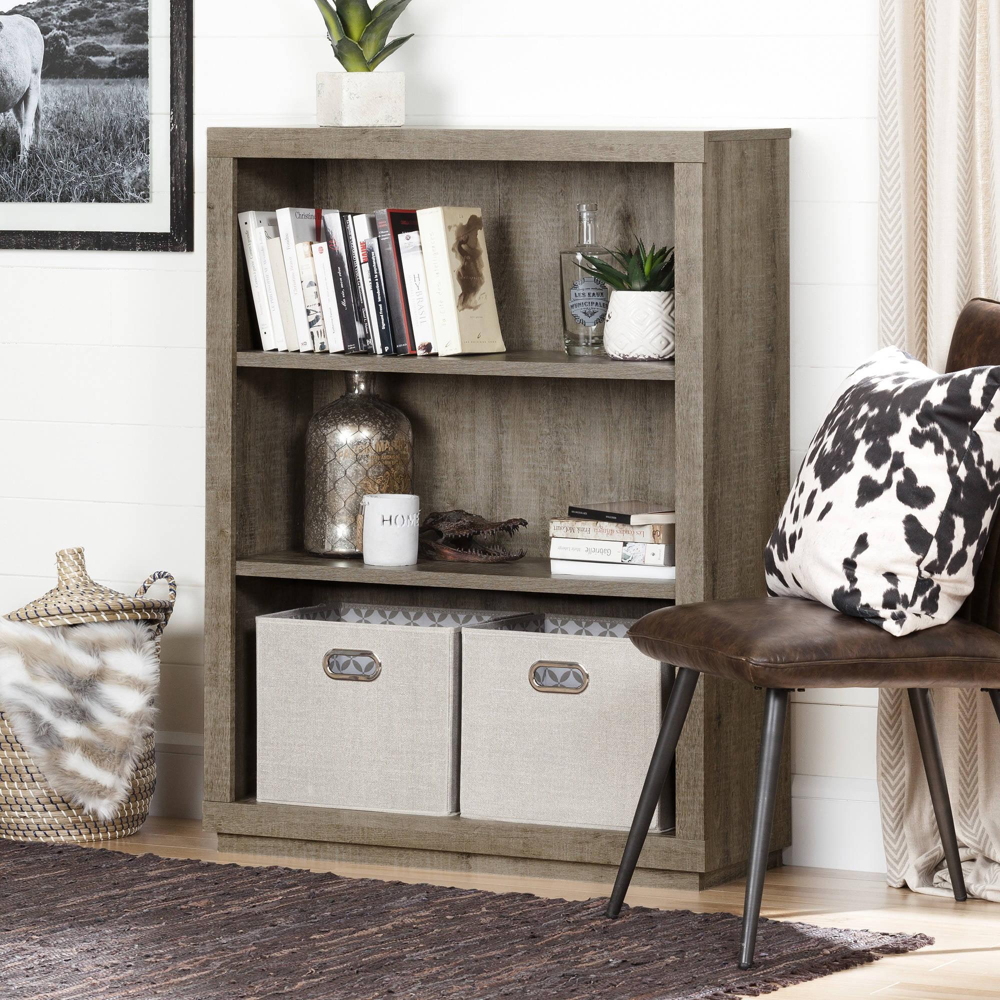"South Shore Kanji 3-Shelf 46 1/4"" Bookcase, Weathered Oak"