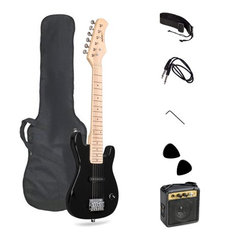 ADM Electric Guitar Black, for Music Lover Beginner with Accessories Pack Guitar Bag ()