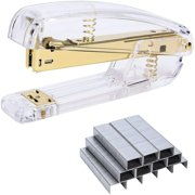 Yaoping Office Stapler Kit, Transparent Spring Powered Desktop Acrylic Standard Stapler with Free 1000 Pieces Standard Staples for Office Clerks and Students