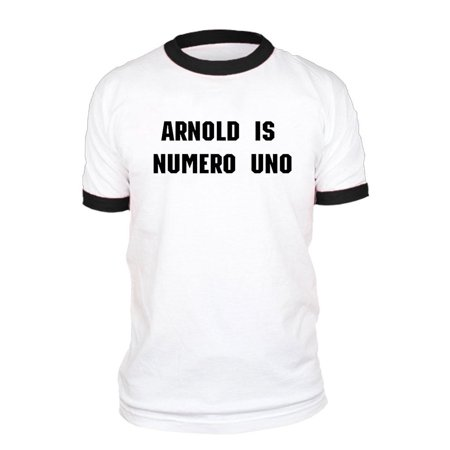 ARNOLD IS NUMERO UNO - Unisex Cotton Retro Ringer Style T-Shirt, Black Rings, XL Arnold Is Numero Uno T-shirt