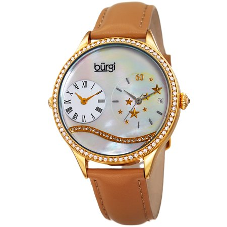 Burgi Womens Mother of Pearl Dial Tan Leather Watch (Tan Mother Of Pearl)