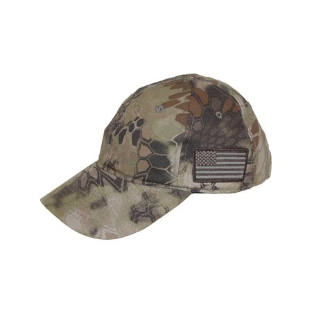 Kryptek  Camouflage American Flag Baseball Cap, Highlander Khaki (Flag Camo Cap)