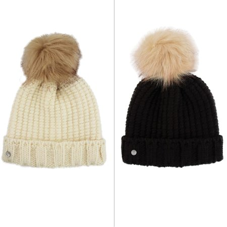 - Khombu Womens Cold Weather Purl Knit Beanie with Natural Faux Fur Pom Pom