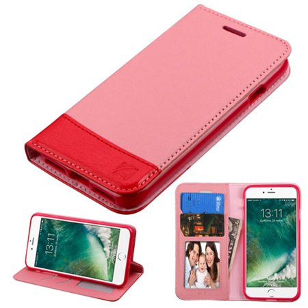 ASMYNA For Apple iPhone 8 / iPhone 7 - Slim Fit Leather Folio Wallet Case Stand Cover with Photo display & Cash ID Credit Card slots - Pink/Red (Id Display)