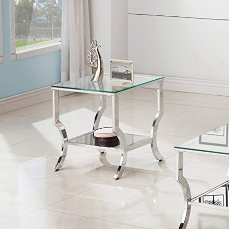 Coaster 720337-CO 1 Shelf Glass Top End Table, -