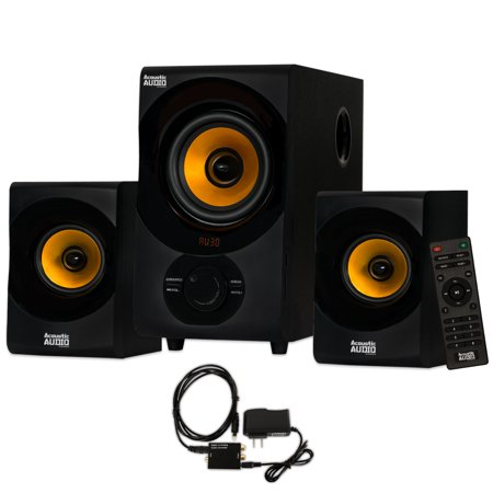 Acoustic Audio Aa2170 Bluetooth 2 1 Home Speaker System With Digital Optical Input Multimedia