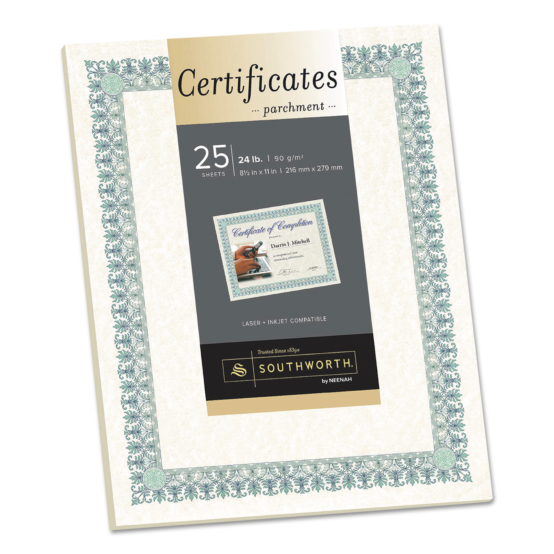Southworth Parchment Certificates, Ivory w/Green & Blue Border, 8 1/2 x 11, 25/Pack -SOUCT3R