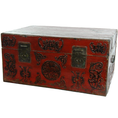 Oriental Furniture Chinese Traditional Hand Carved Trunk