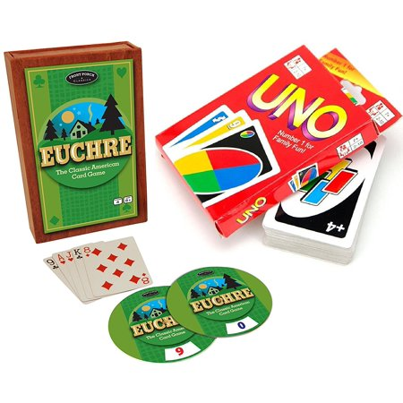 Classic Card Games Uno   Euchre Double Deluxe Set 2 Pack Family Fun Edition