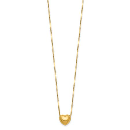 14K Yellow Gold 16 Necklace Chain with Heart Charm Necklace (16in x (16in Necklace Set)