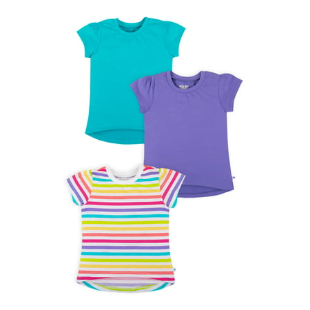 Patagonia Organic Tee (Little Star Organic Short Sleeve Pure Organic True Brights Puff Sleeve T-shirts, 3 Pk (Baby Girls & Toddler)