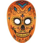 Star Power Day of the Dead Sugar Skull Face Mask, Orange Multi, One-Size