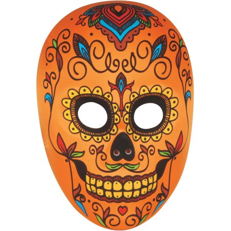 Star Power Day of the Dead Sugar Skull Face Mask, Orange Multi, One-Size (Skull Mask Day Of The Dead)