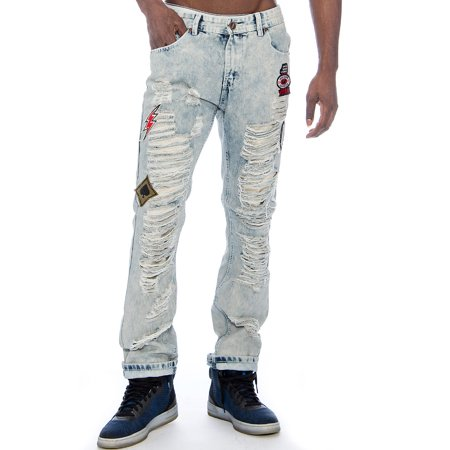 Crown Jeans (Men's Distressed Patched Relaxed Slim Denim Jeans 9 Crowns (Patches 7629,)