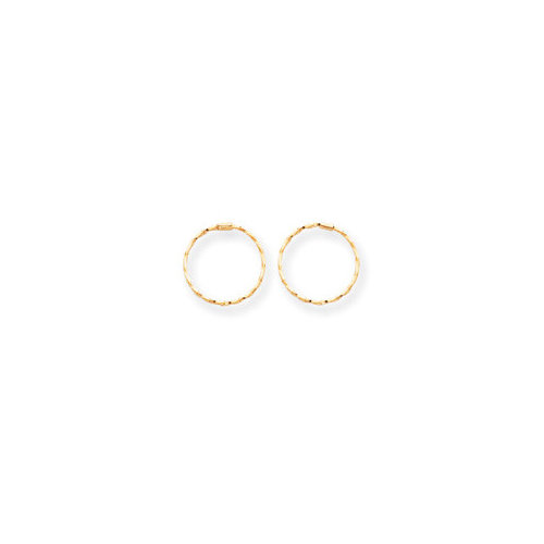 Jewelryweb 14k Small Endless Twisted Hoop Earrings