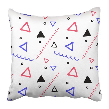ARTJIA Black Abstract Geometric In Nautical Palette Colors Child Drawing Zigzag And Dots Pillowcase 16x16 inch