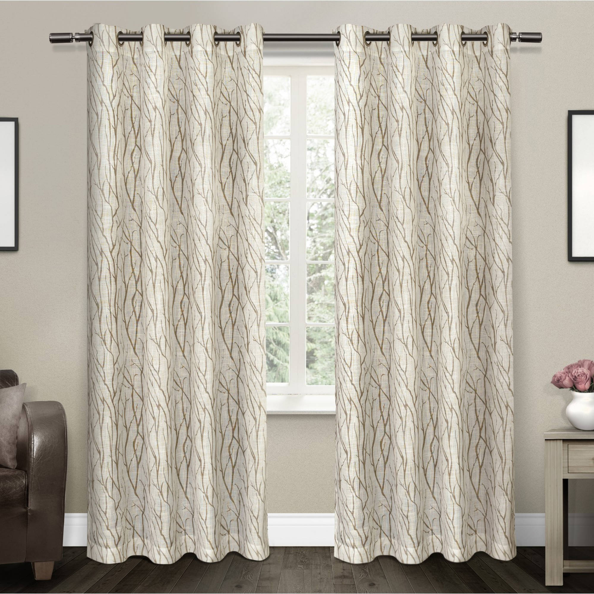 "Oakdale Textured Linen Motif Grommet Top Window Curtain Panel Pair, Taupe, 54"" X... by Exclusive Home"