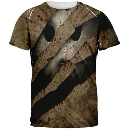 Halloween Horror Movie Mask Slasher Attack All Over Mens T Shirt - M And M Halloween Movie Game