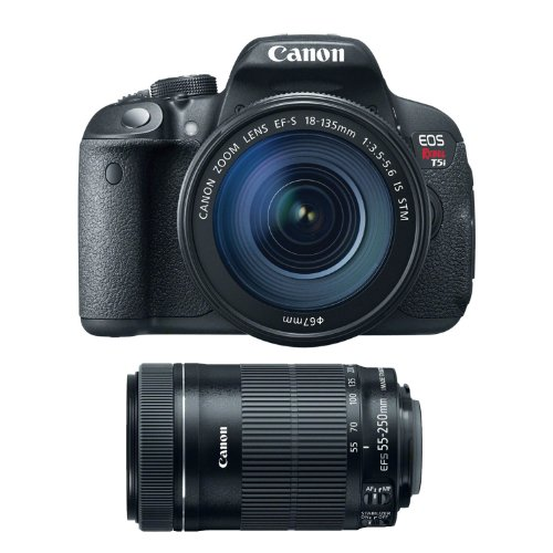 Canon EOS Rebel T5i with EF-S 18-135mm IS STM Lens Kit & Canon EF-S 55-250mm f 4-5.6 IS STM Lens by Canon
