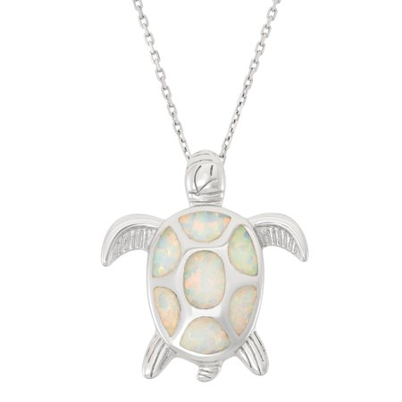 Turtle Pendant - Sterling Silver White Opal Turtle Pendant with 18 Chain (Multiple colors available)