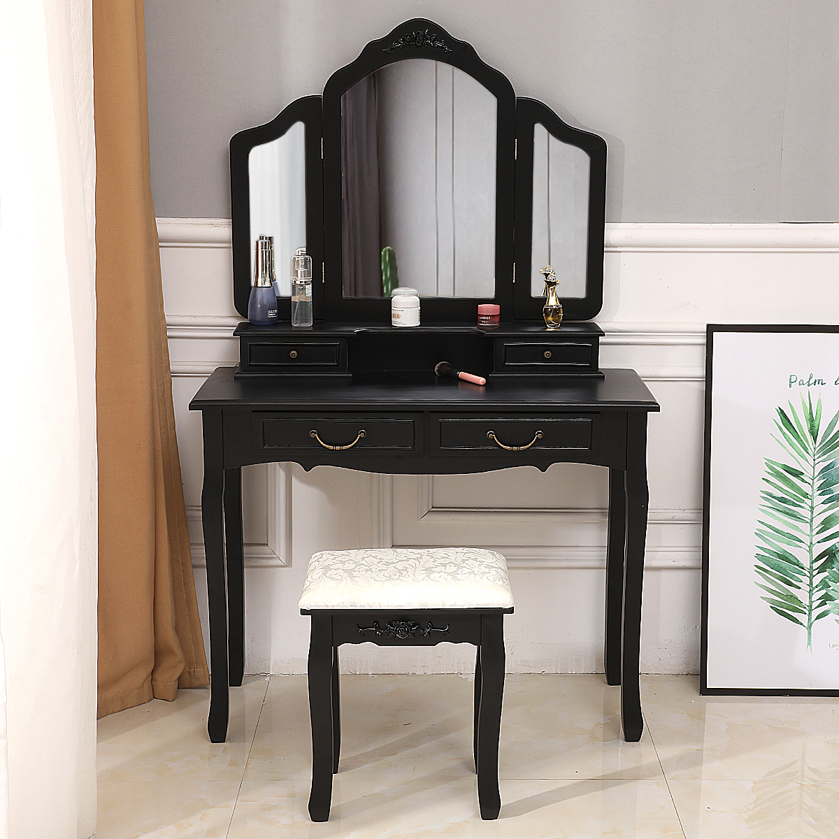 Product Image Zimtown Tri Folding Mirror Wood Vanity Set Bedroom Vanities  Makeup Table Dresser 4 Drawers With Stool