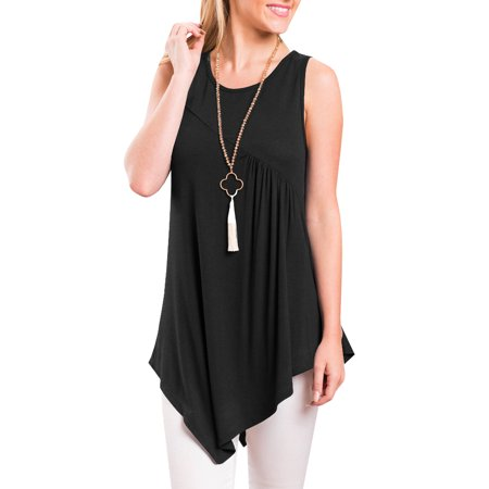 Sleeveless Solid Color Blouse Women Asymmetrical Hem Tee Tops