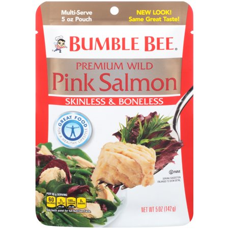 (3 Pack) Bumble Bee Premium Skinless & Boneless Wild Pink Salmon, Ready to Eat Salmon, High Protein Food, 5oz Pouch