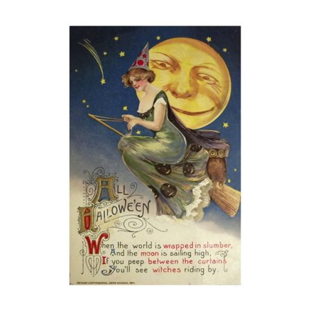 Halloween Witch Greendress Moon Print Wall Art By Vintage Apple Collection](Vintage Halloween Photos For Sale)