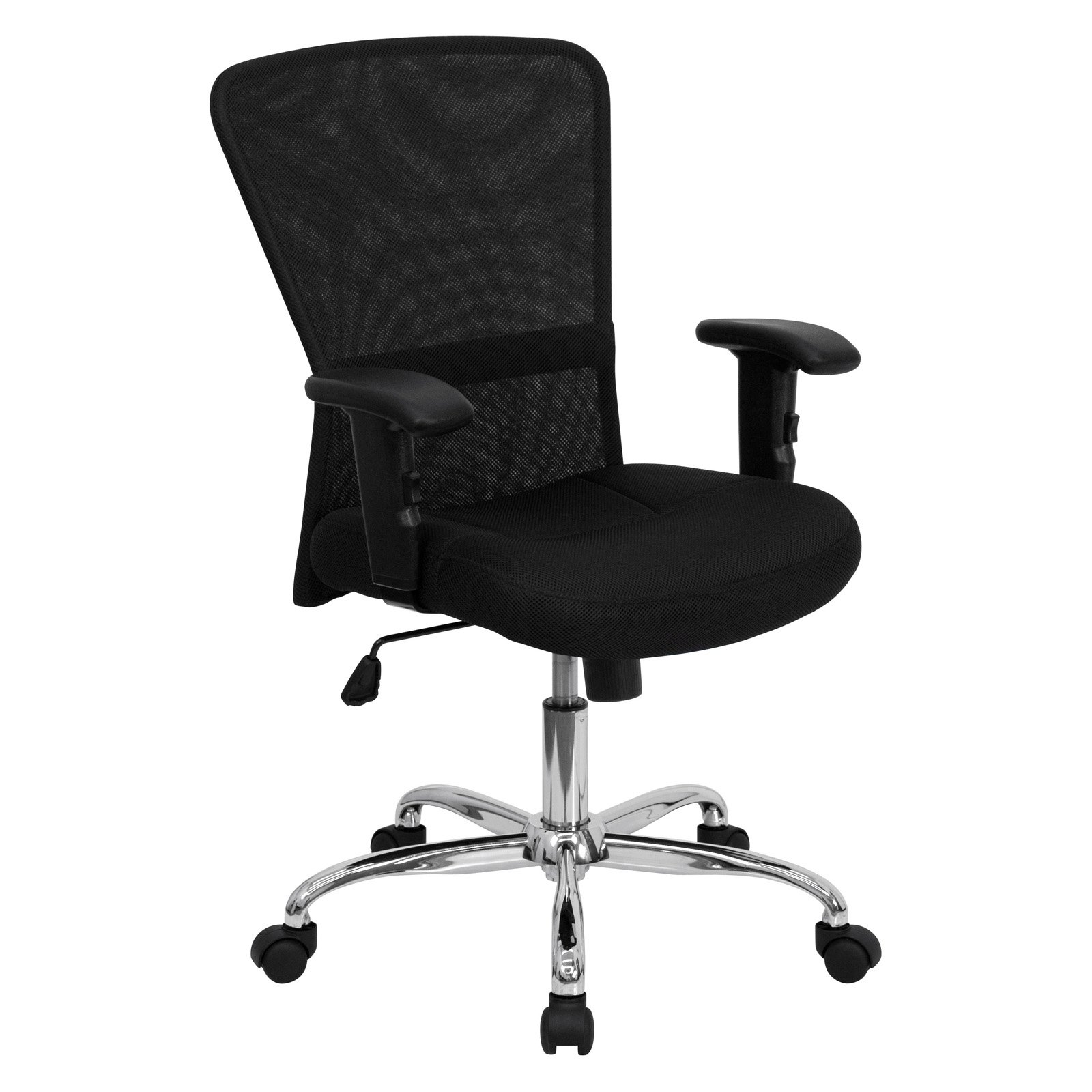 mesh office computer chair with chrome base, black - walmart