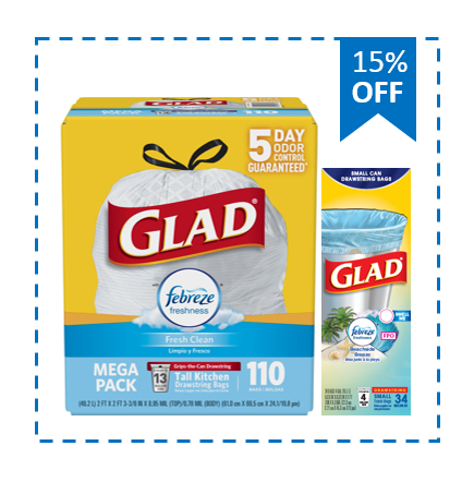 Buy and Save: Glad Tall Kitchen Trash Bags (110ct) and Glad Small Drawstring Trash Bags (34ct)