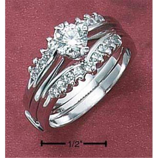 Sterling Silver Womens 2 Pc Set 5mm Round Cz with Cz V Bands - Size 7